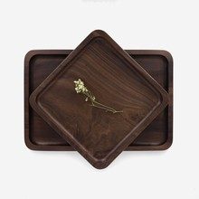 Solid wood tray black walnut natural wood plates tray Kitchen dinnerware household gadgets Wood Dish plates no joint(China)