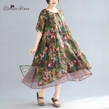 BelineRosa Vintage Floral Bedruckte Chiffon Sommer Kleider Plus Größe Frauen Kleidung 4XL 5XL Kleid in Großen Größe XMR00107