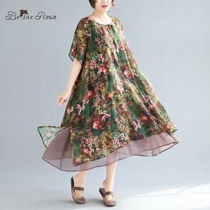 Image 1 - Женское винтажное шифоновое платье BelineRosa, летнее платье большого размера плюс с цветочным принтом, 4XL, 5XL, XMR00107