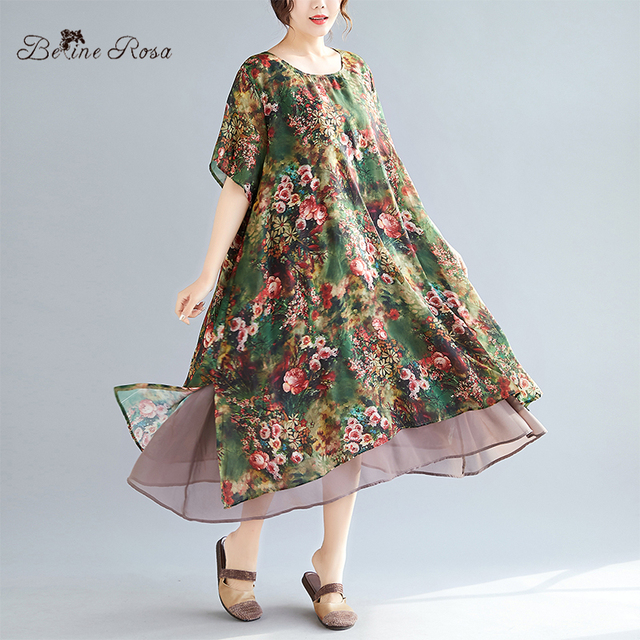 Женское винтажное шифоновое платье BelineRosa, летнее платье большого размера плюс с цветочным принтом, 4XL, 5XL, XMR00107