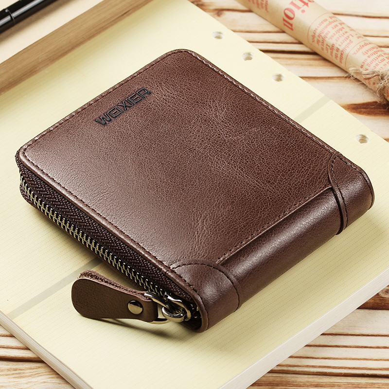 Men Wallet Purse Card-Holder Short Coin-Pocket Zip-Coin Vintage Genuine-Leather Luxury Brand