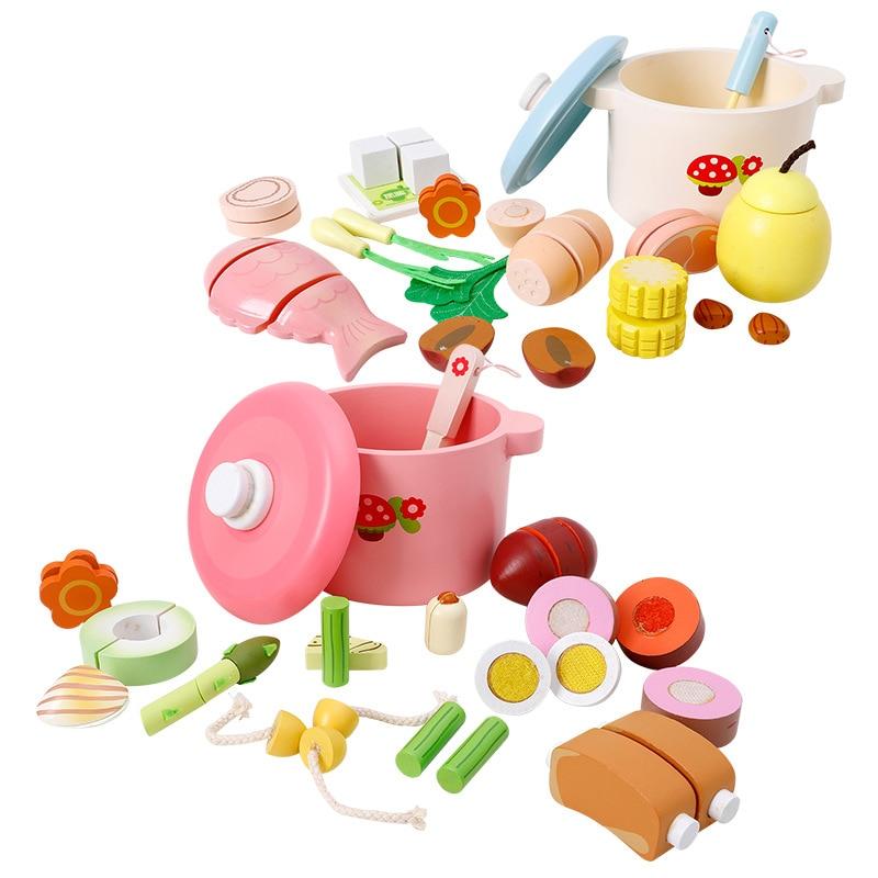 Enfants en bois maison de jeu de simulation jouets quatre saisons nutrition soupe de coupe jouets cuisine cuisine jouets pour filles