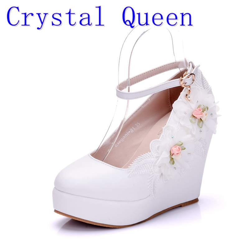 Crystal Queen Woman White Wedding Shoes High Heel Bridal Shoes For Woman Pumps Fashion Design Flower Lace Bridesmaid Shoes fashion rhinestone super high heel bridal dress shoes white flower pearl crystal wedding shoes round toe wedding ceremony pumps