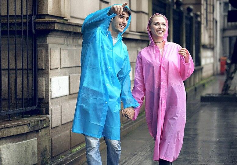 10.Fashion EVA Women Raincoat Thickened Waterproof Rain Coat Women Clear Transparent Camping Waterproof Rainwear Suit Rain jacket_