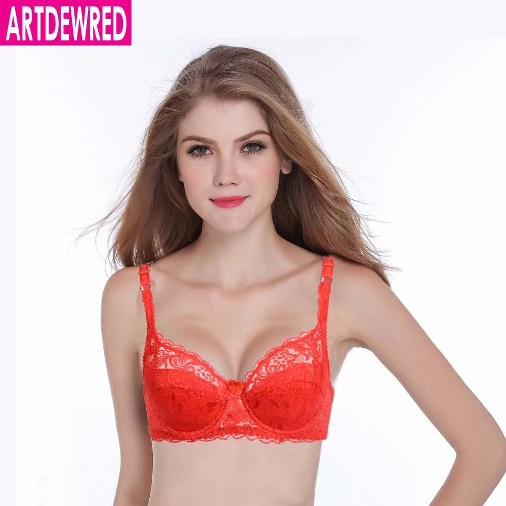 cb85f537c Marca Mulheres Sexy Sutiã de Renda Bordado Floral Transparente Super Fino  Underwear Bra Respirável 75 80 85 90 AB Copo