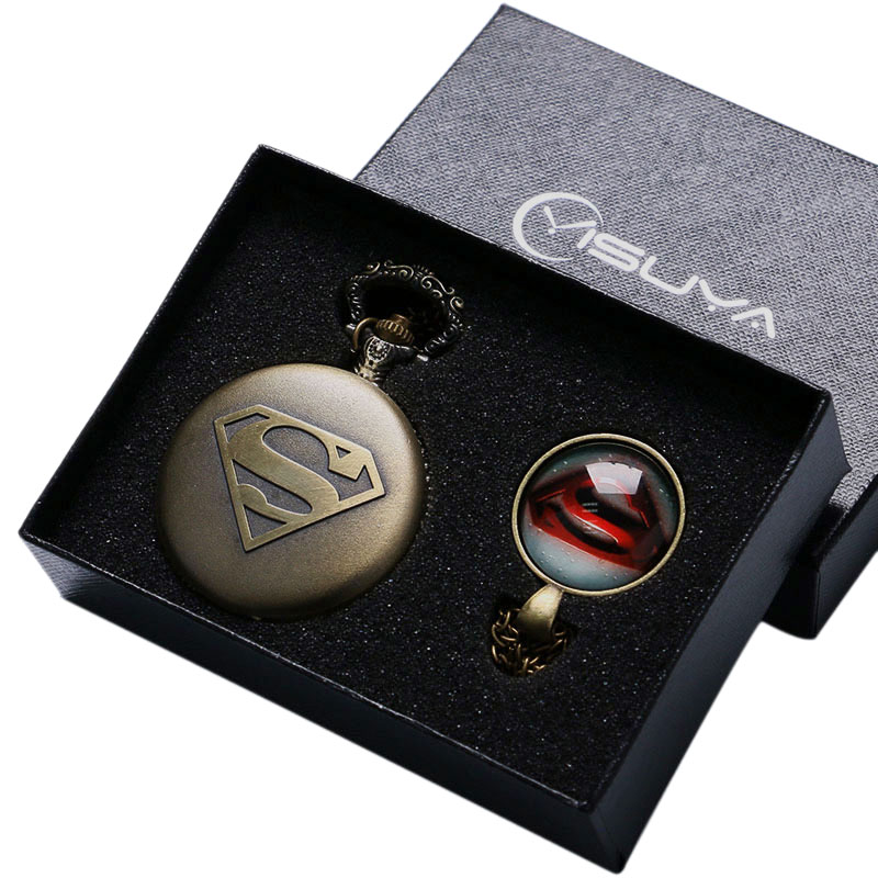 2017 New Men's Cool Superman Bronze Quartz Pocket Watch Necklace Pendant Fob Chain Boy Watches Gift Box relojes de bolsillo bronze quartz pocket watch old antique superman design high quality with necklace chain for gift item free shipping