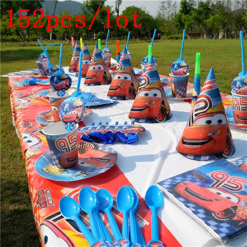 Disney Saetta McQueen Cars Tema di Design 152 Pz/lotto Piastra Tazza Festa di Compleanno Cute Decorazione Da Tavola Per La Famiglia Rifornimento Del Partito