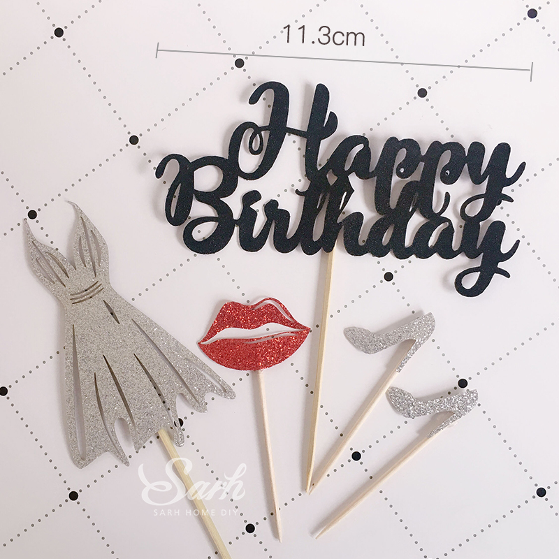 3 sets biling silver black red lips high heel shoes dress happy birthday cake topper for party decoration dessert lovely gifts in cake decorating supplies