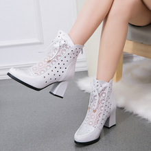High Quality Women Boots Genuine Leather Ankle Boots Lace Summer Boots Zapatos Chaussures Femme Square High Heel Women Shoes