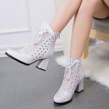 ที่มีคุณภาพสูงผู้หญิงบู๊ทส์หนังแท้รองเท้าข้อเท้าลูกไม้ฤดูร้อนบู๊ทส์Zapatos C Haussures F Emmeตารางรองเท้าส้นสูงผู้หญิงรองเท้า