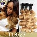 8A Blonde Weave Bundles 3Pcs Lot Brazilian Ombre Human Hair Mink 1B 27 Body Wave Two Tone Ombre Brazilian Hair Bundles Body Wave