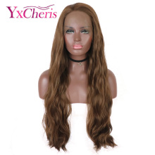 lace front wig synthetic wavy brown wigs for women heat resi