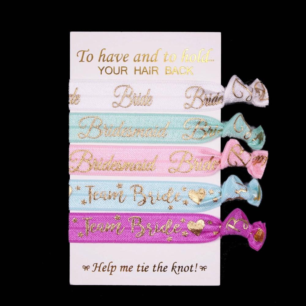 T.R RIBBON Wedding Bride Bridesmaid Team Bride Printed FOE Elastic Hair Tie For Hair Accessories 50pcs/lot 5pcs/set