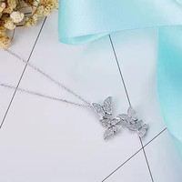 Designer Fashion 925 Sterling Silver Jewelry 3A Cubic Zirconia Party Butterfly Necklace