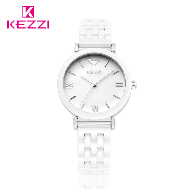 KEZZI Top Brand HOT Sale Ceramic Strap Watches Women Dress Watch Quartz Analog Military Watch Waterproof Wristwatch k-1083 2016 new hot sale brand magic star black white analog quartz bracelet watch wristwatches for women girls men lovers op001