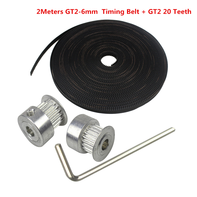 2pcs. GT2 20teeth 20 Teeth Bore 5mm/8mm Timing Alumium Pulley + 2m Rubber GT2-6mm Open Timing Belt Width 6mm for 3D Printer