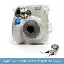 غلاف حماية من الكريستال الشفاف حافظة صغيرة Instax لكاميرا Fujifilm Instax Mini 7s مع حزام الكتف