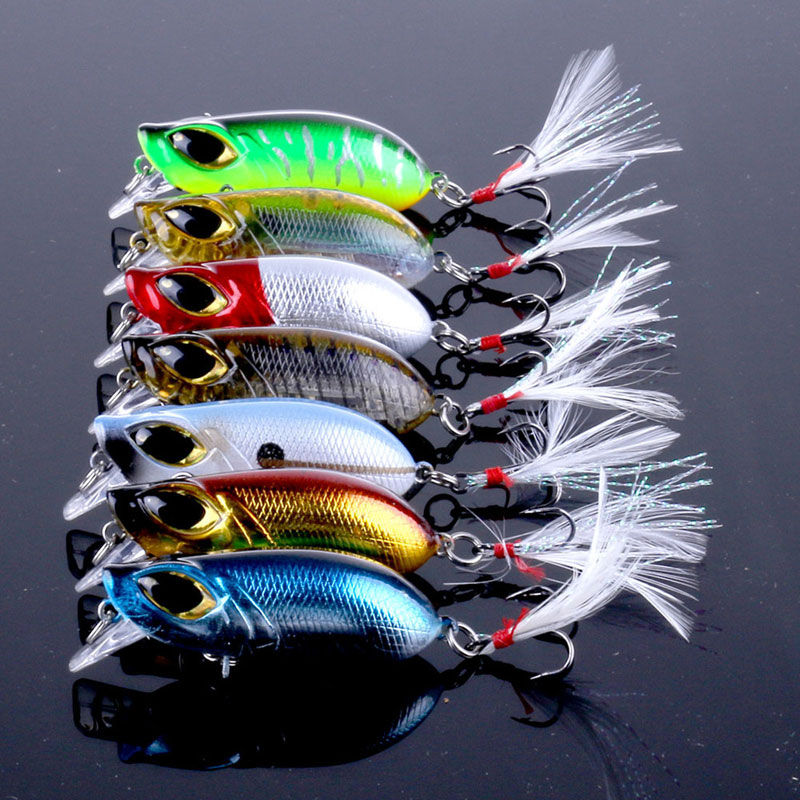 7PCS 8g/5.5cm Combo Lure Set Minnow/CrankBait Sinking With Feather Treble Hook Tail Big Eyes Hard Lure Bass Fishing Baits wldslure 1pc 54g minnow sea fishing crankbait bass hard bait tuna lures wobbler trolling lure treble hook
