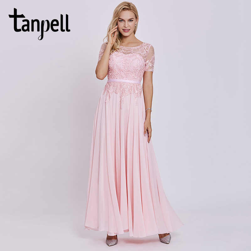 969e92db7fa ... Tanpell short sleeves evening dress scoop purple appliques lace ankle  length dresses cheap a line women ...