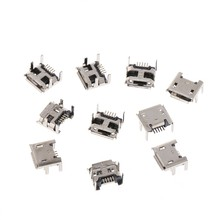 OOTDTY 10 Pcs Micro USB Type B 5 Pin Female Socket Connector SMD 4 Legs 90 Degree(China)