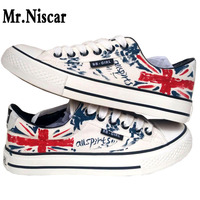 Fashion British Flag Style Graffiti Sneakers Men S Flat Shoes Casual All Season Male Lace Up
