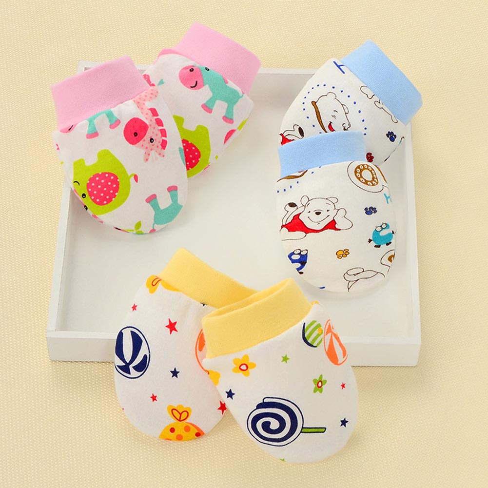 Winter Full Cotton Newborn Baby Boys Girls Anti Grasping Gloves Breathable Keep Warm Infant Face Protect Gloves 0-3 Months