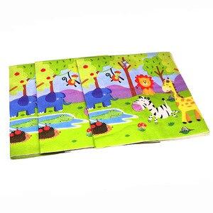 Image 2 - 20 יח\חבילה חיות ג ונגל חד פעמי מפיות תינוק מקלחת ספארי חיות נושא מסיבת יום הולדת קישוטי פו מפיות