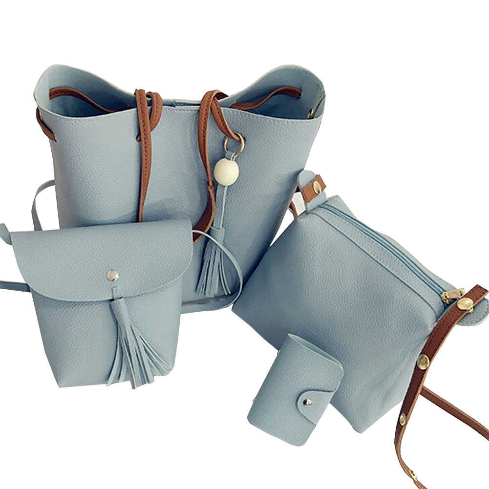 4Pcs Set Luxury Casual Tassel Bucket Bag PU Leather Tassel Shoulder Handbags And Purses Large Composite Bags