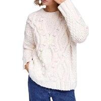 2018 Autumn Winter Thicker Warm Pullover Sweater Women Vintage Ball Crochet Sweater High Quality Winter Tops
