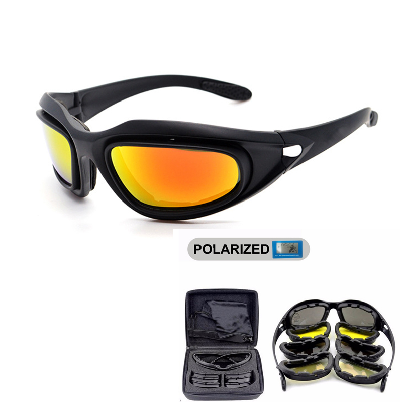 DAISY Polarized Army Goggles, Military Solbriller 4 Lins Kit, Mænds Desert Tactical Glasses Sporting Polarized Glasses