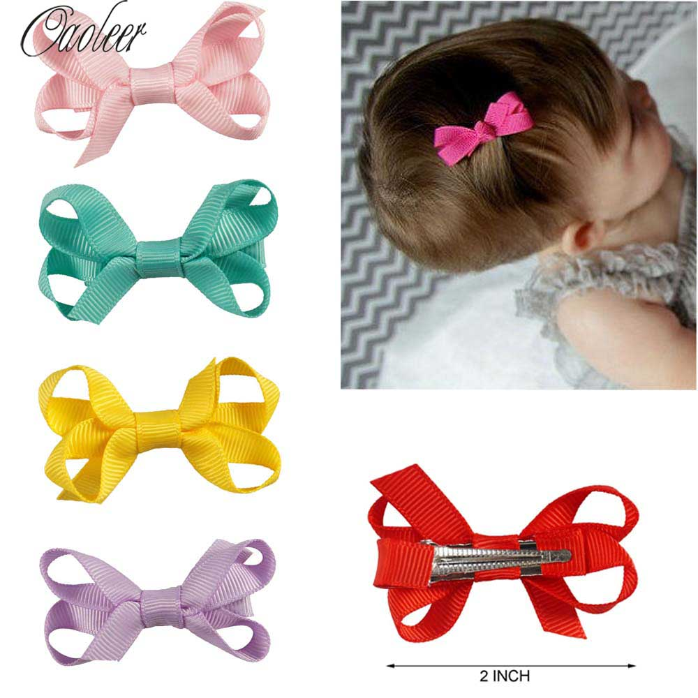 25Pcs/lot 2 Girls Cute Ribbon Hair Bows Handmade Solid Hair Pins With Clips Mini Hair Clip Kids Hair Accessories 2 pcs lot 4 high quality pearl hair bow for girls sweet cute hair clips rhinestone ribbon diy fashion headwear