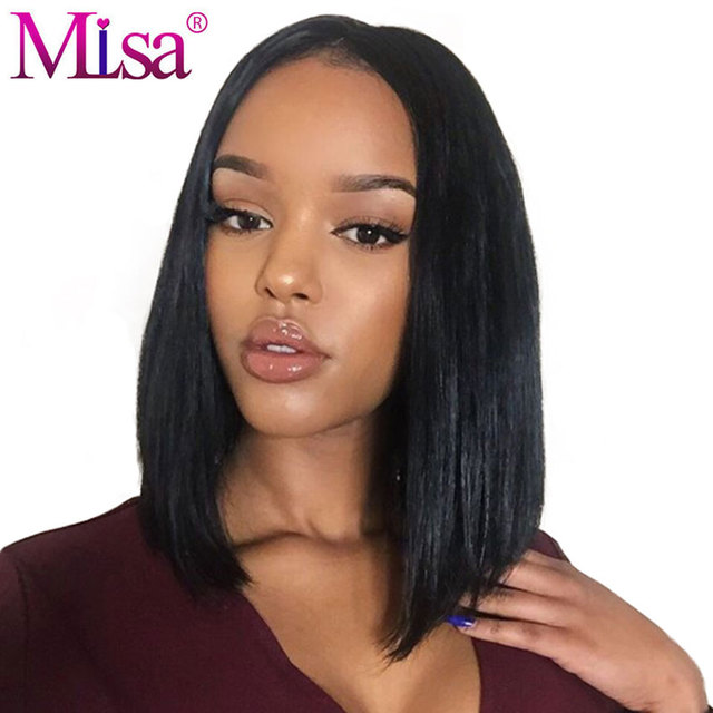 Mi Lisa Bob Lace Front Wigs Humain Hair Remy Brazilian Hair Wig Straight Hair Pre Plucked Bleached Knots With Baby Hair Lace Wig by Mi Lisa