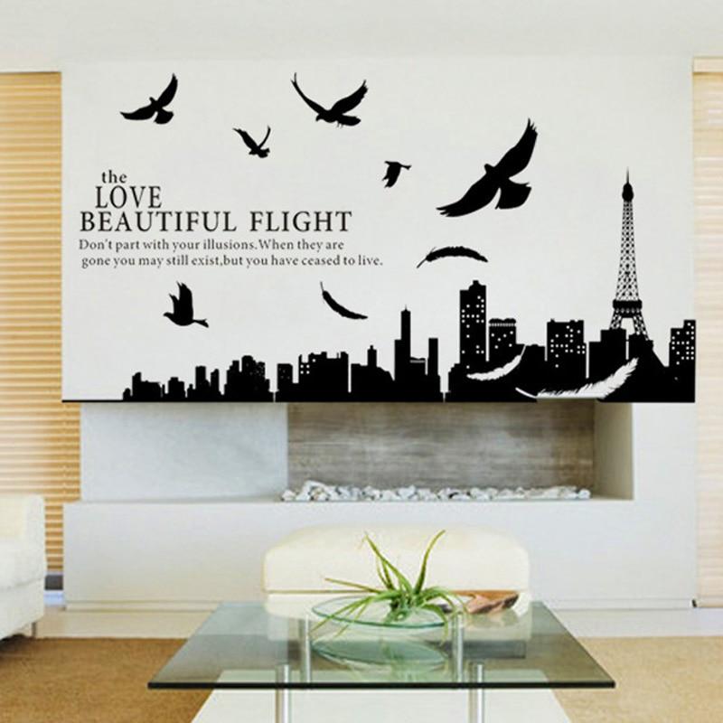 Stadt silhouette von paris diy wandaufkleber für wohnzimmer - Wohnkultur