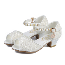 ULKNN 2019 summer girls sandals childrens fish mouth shoes 5 children 4 6 crystal high heel 7 princess 10 years old