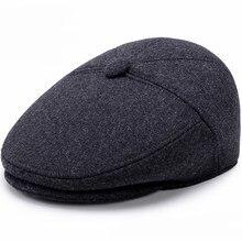 75e47f7a70b94 HT1851 hombres gorras sombreros otoño invierno con oreja Vintage Newsboy  Ivy Flat Caps mezcla de lana boinas ocasionales de los .