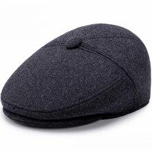 HT1851 Men Caps Hats Autumn Winter Hats with Ear Flap Vintage Newsboy Ivy Flat Caps Wool