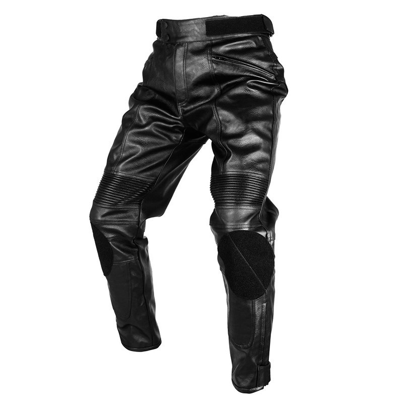 DUHAN 100 PU leather Motorcycle Racing pants font b Jeans b font pads armor Pants racing