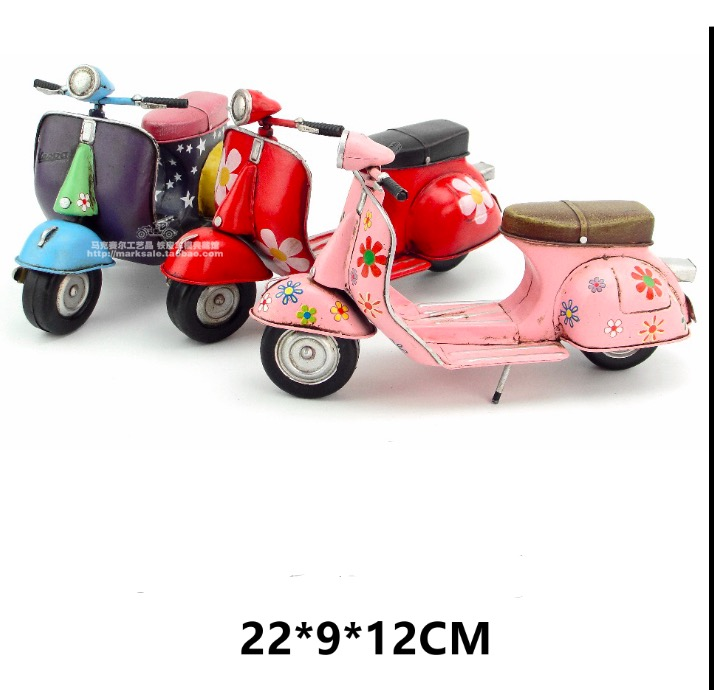 4beb43632e1 Vespa model Car 1955 Italy vintage metal toy pink red motorcycle toys hot  wheel 1