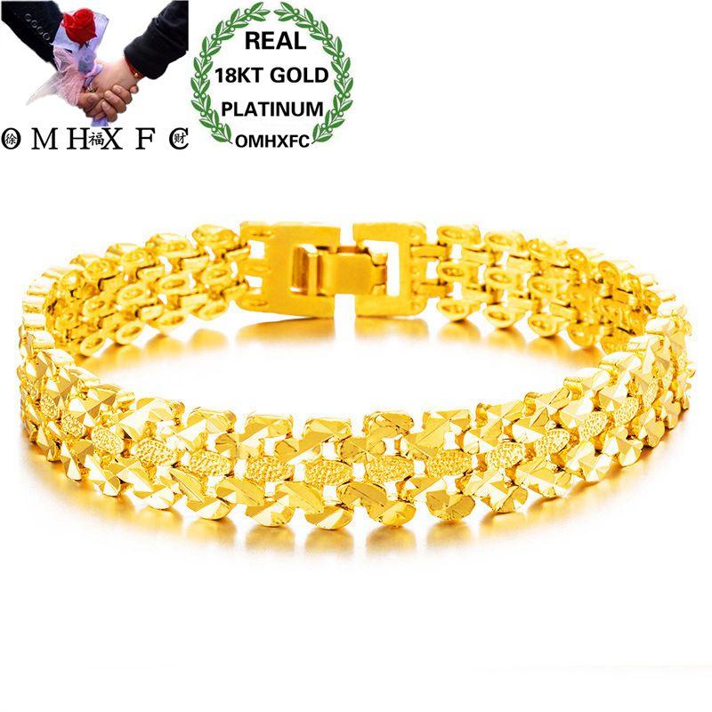 Omhxfc atacado europeu moda mulher homem feminino masculino festa de casamento presente vintage relógio largo 18kt ouro pulseiras be169