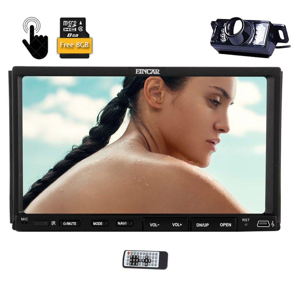 Резервное копирование сзади Камера включены eincar двойной din 7 HD Автомобильный Радио с GPS Авто Радио Bluetooth емкостный Сенсорный экран 2 DIN Sat Nav