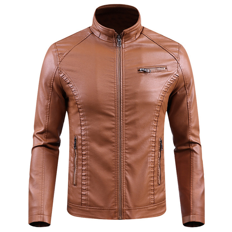 2018 Jackets Men Slim Fit Casual Outwear Bomber Jacket Winderbreaker PU Motorcycle Leather Jackets male fur coat Dropshipping