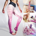 Pink Lace Pattern Power Flex Yoga Pants Black Stretchy High Waist Sport Running Tights Sexy Slim Fitness Gym Dance Tights Ladies