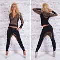 Ctater Сексуальные Женщины Костюмы 2017 Новых Осень Новая Мода Хлопок с длинным Рукавом Leopard Женщины 2 Шт. Набор Тонкий Брюки Костюмы + Толстовки наборы