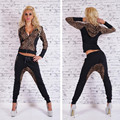 Ctater Sexy Trajes de Las Mujeres 2017 Nuevo Otoño Nueva Moda de Algodón de Manga larga Leopard Mujeres 2 Unidades Set Pantalones Delgados Trajes + Hoodies conjuntos