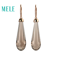 MELE 18K Gold Drop Earrings with natural smoky quartz for women,Diamond side stone new fashion fine jewelry with high quality