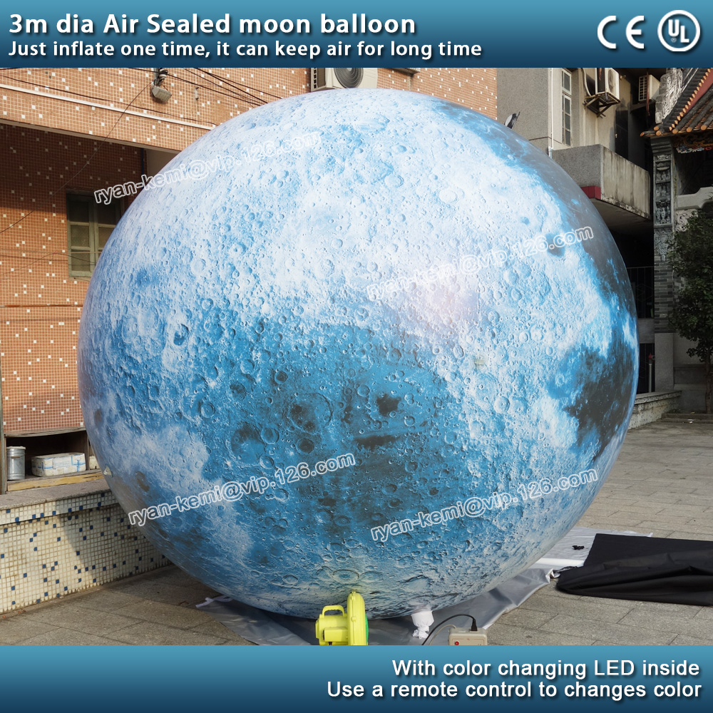 air sealed balloon inflatable moon hanging inflatable moon ball for decoration with LED lighting