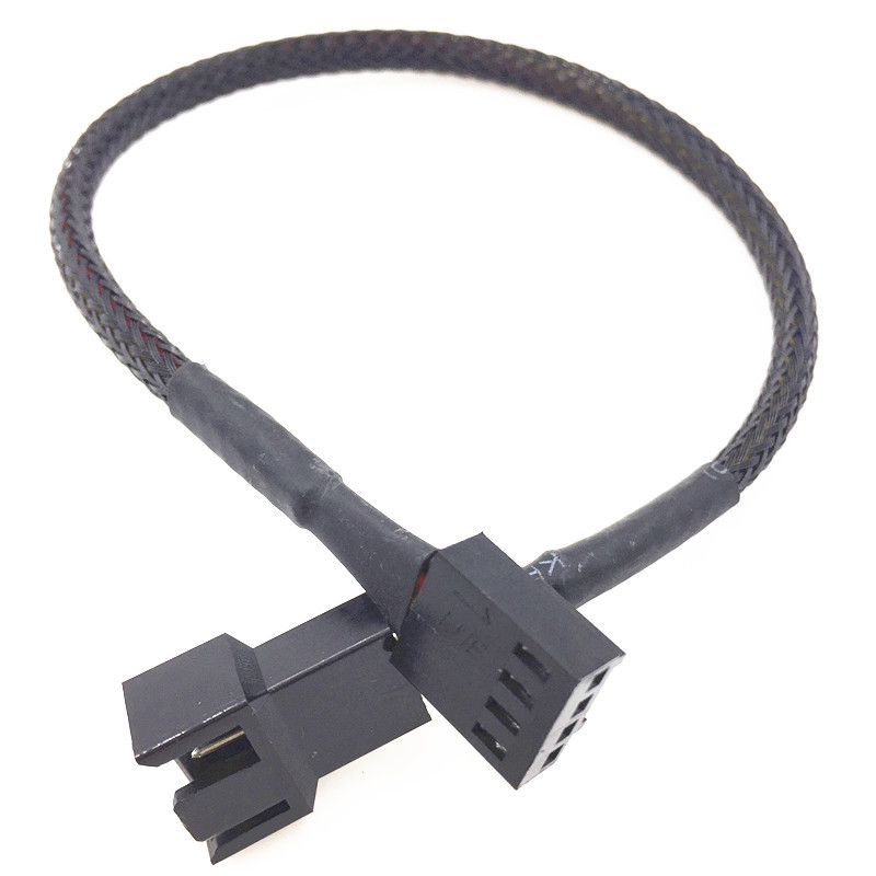1x Black 30cm 3pin Male To Female Power Extension Lengthen Cable For PC Case Fan