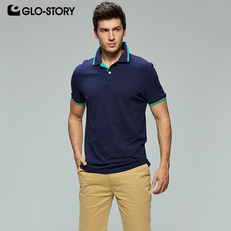 GLO-STORY Shipped From European Men's 2019 Basic Casual Knitted Cotton   Polo   Shirt Male   Polo   Short Sleeve Shirt MPO-7145