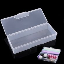 1Pc Nail Art Sanding Buffer Files Brush Accessories Tools Storage Case Plastic Clear Empty Container Organizer Box 19*7.5*3.8 cm цена