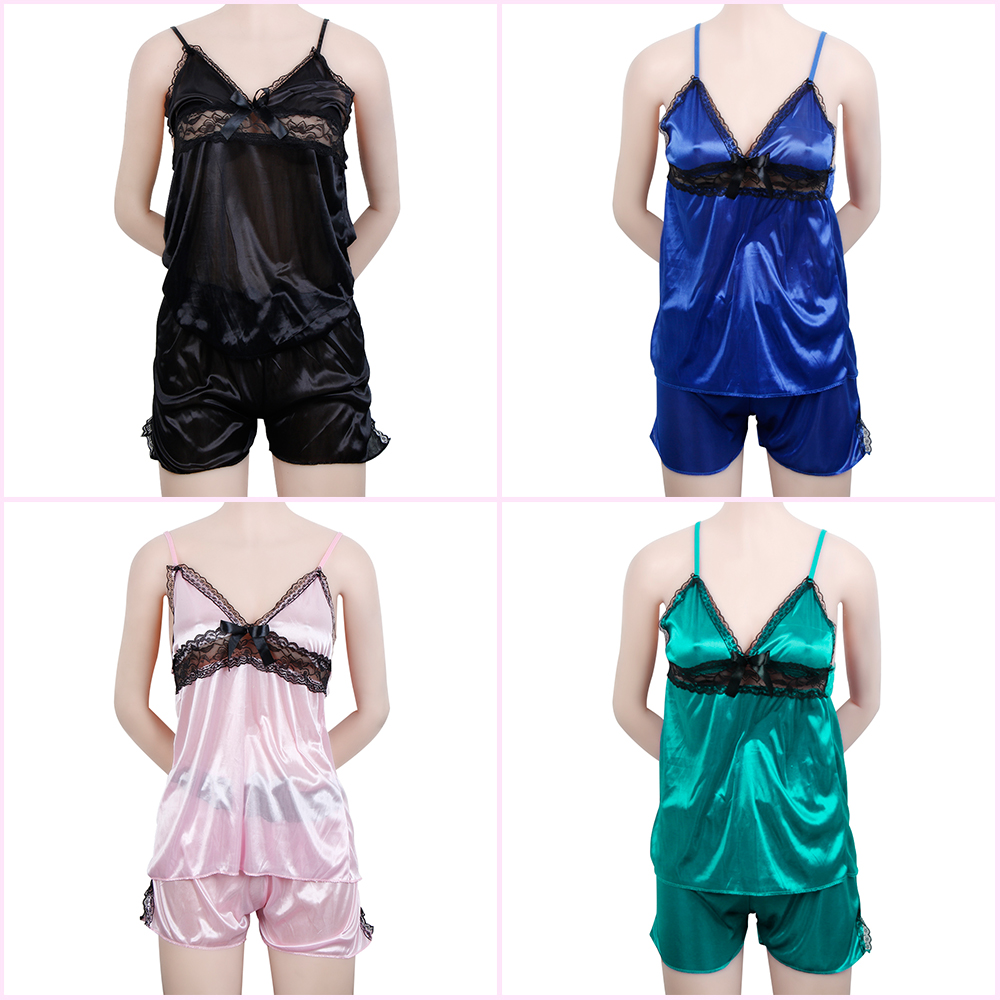 2pcs Women Sexy Satin Lace Sleepwear Dress Shorts Lingerie Nightwear Pajamas Set Satin Clothes Summer Soft And Antislippery Underwear & Sleepwears